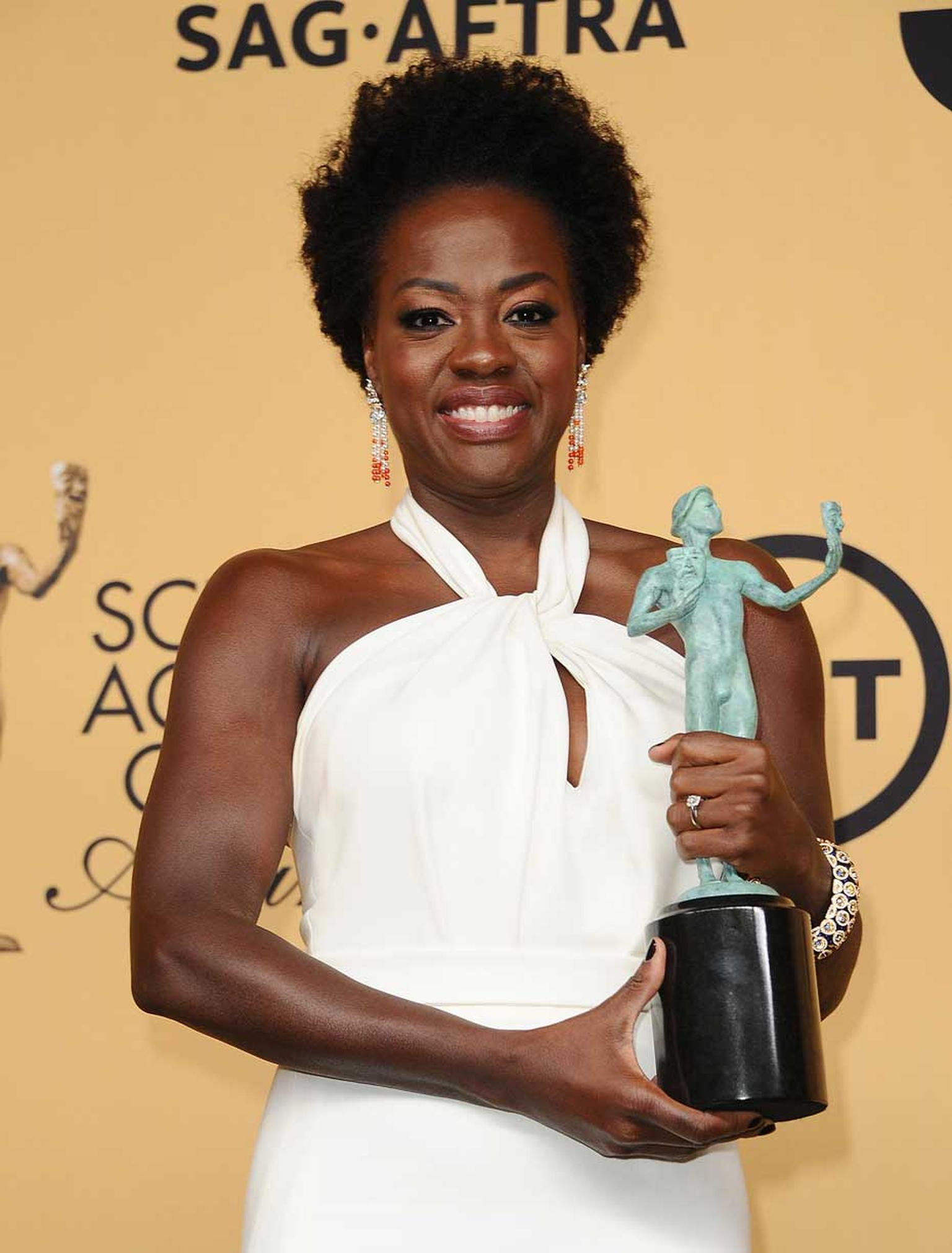 Viola Davis, who won the award for Outstanding Performance by a Female Actor in a Drama Series, also wore Van Cleef & Arpels jewelry on the red carpet. (Jason LaVeris/FilmMagic).