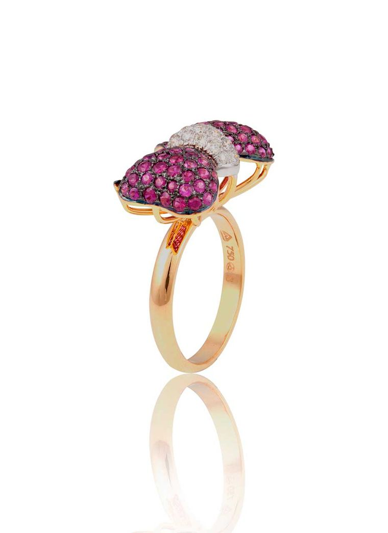 Mirari ring in pink gold with rubies and diamonds.
