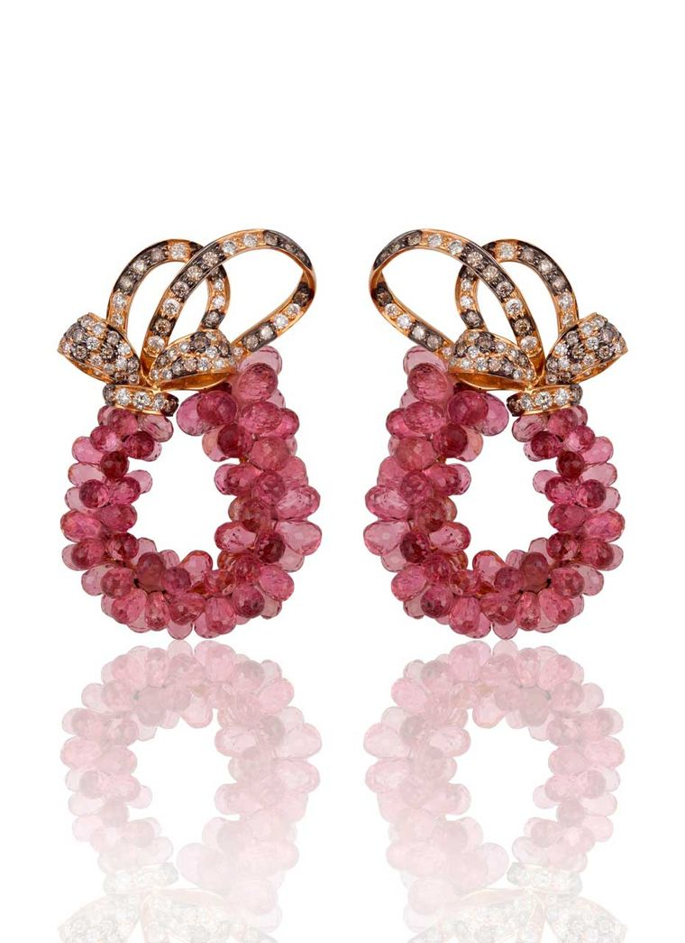 Mirari earrings set with rubellite briolettes in yellow gold.