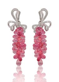 Mirari earrings in white gold with rubellite briolettes and diamonds.