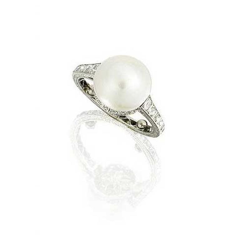 A 1930s diamond and natural pearl ring on an engraved band recently sold for £47,500 at Bonhams Fine Jewellery sale in London.