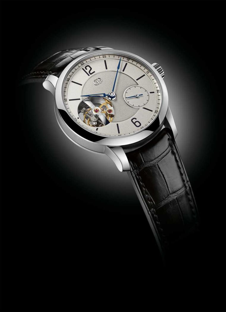 Greubel Forsey watches did a 180º turn this year with the new Tourbillon 24 Secondes Vision, crafted with a sober, classical dial with traditional hour, minute and small second features, a slender case and a most unusual position for the tourbillon. The 2