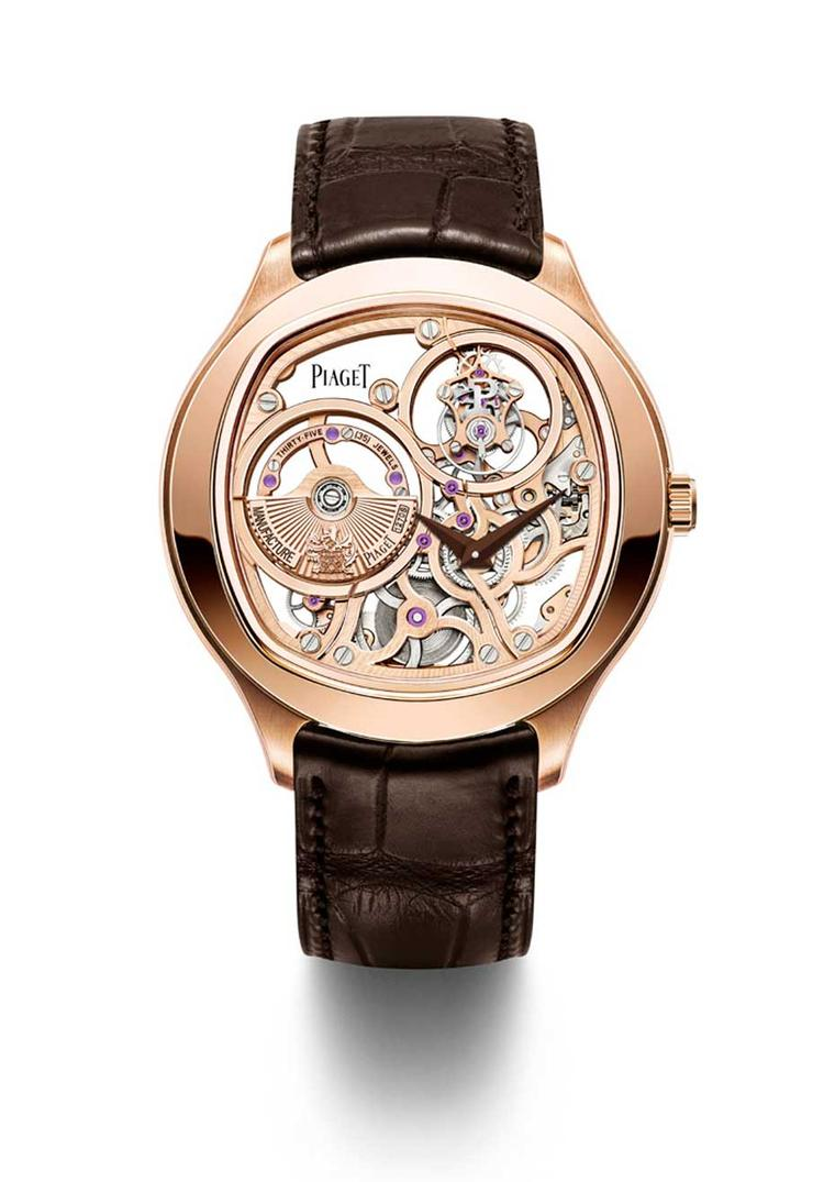 The new Piaget Emperador Coussin 1270S in a 46.5mm rose gold case boasts an all-gold movement.