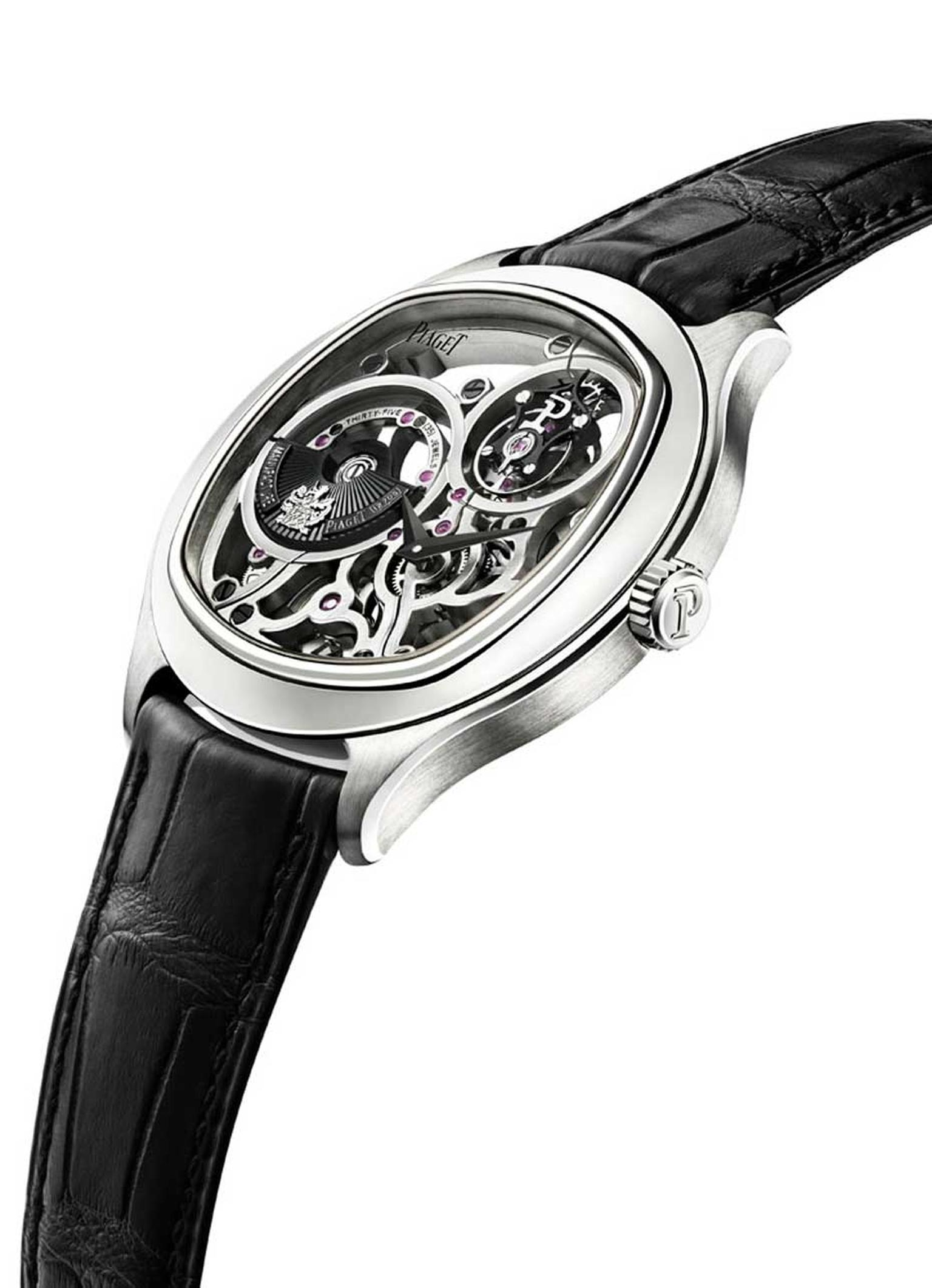 The new Piaget Emperador Coussin 1270S is the world's thinnest tourbillon automatic skeleton watch, with a case thickness measuring just 8.85mm thanks to the 5.05mm thick movement.