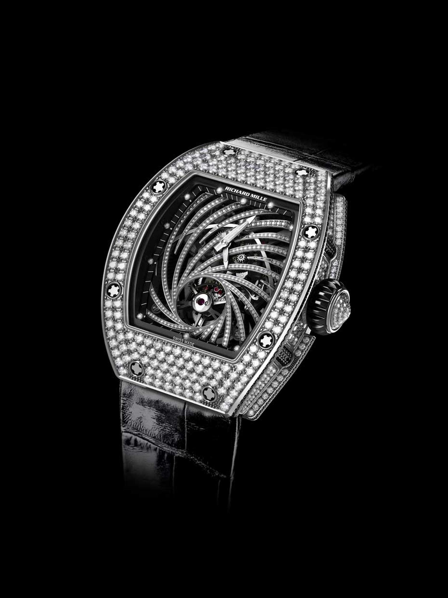 The new Richard Mille RM 51-02 Tourbillon Diamond Twister features a diamond-embedded spiral that emanates from the tourbillon escapement at 6 o'clock.