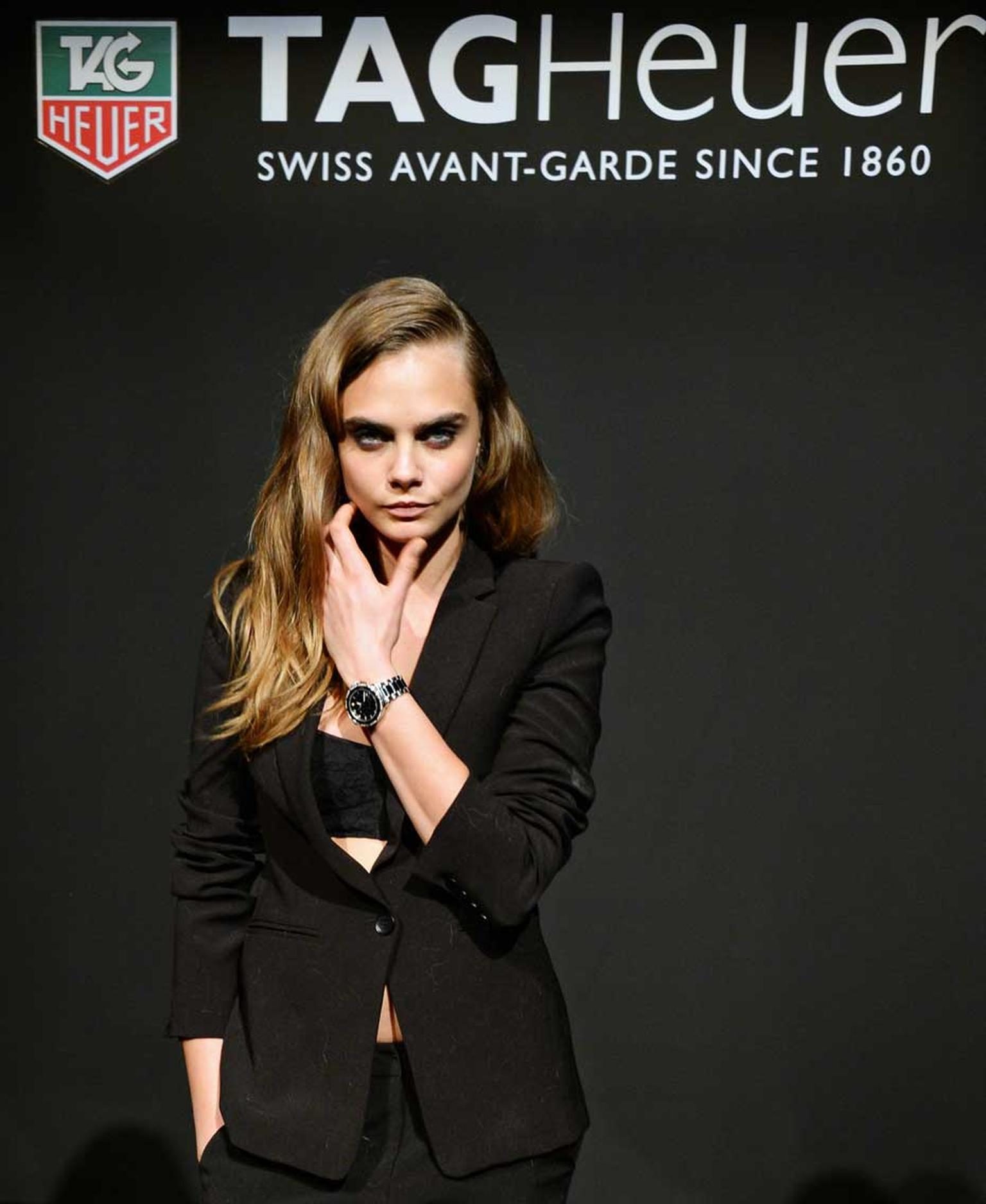 Influential, trend-setting and fresh, Cara Delevigne is a strategic choice for TAG Heuer watches. Women's watch sales at TAG currently account for 37% of the total and Biver wants to get that figure up to 50%