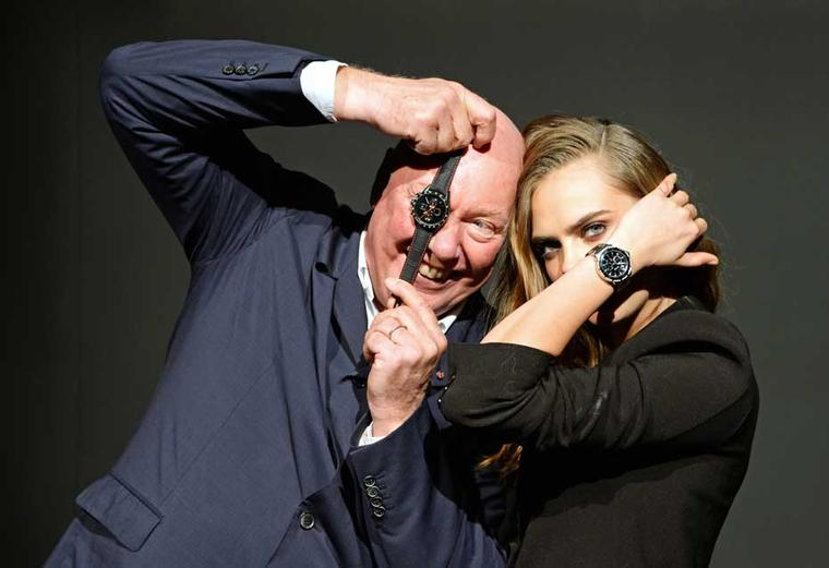 "President of LVMH Watches and CEO of TAG Heuer Jean-Claude Biver poses with new ambassador Cara Delevingne. He is convinced that Cara is the living embodiment of the brand's new tag line, ""Don't crack under pressure""."