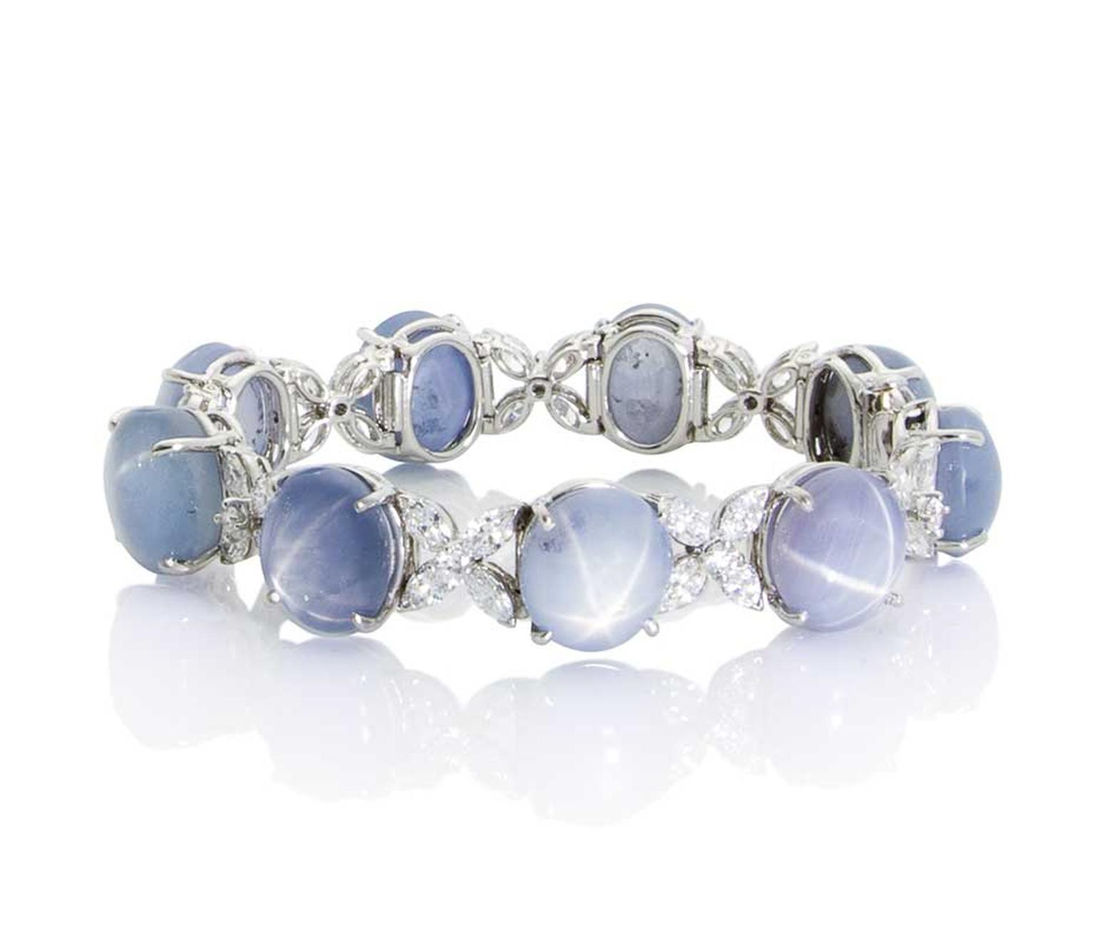 Oscar Heyman star sapphire bracelet in platinum with diamonds.