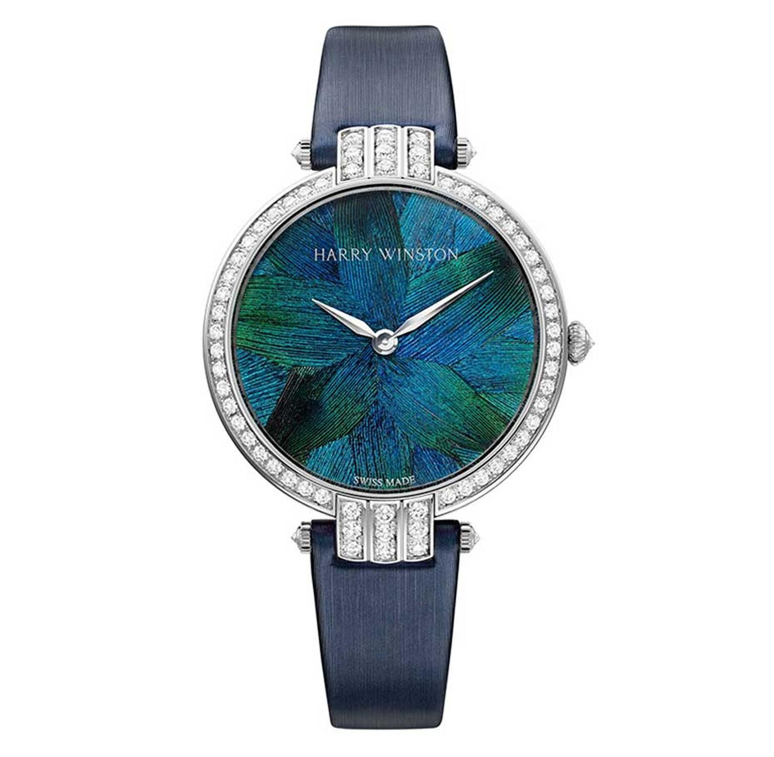 Harry Winston Premier Collection with marquetry of peacock feathers housed in a 36mm white gold case with 96 brilliant-cut diamonds on the bezel, crown, lugs and buckle.