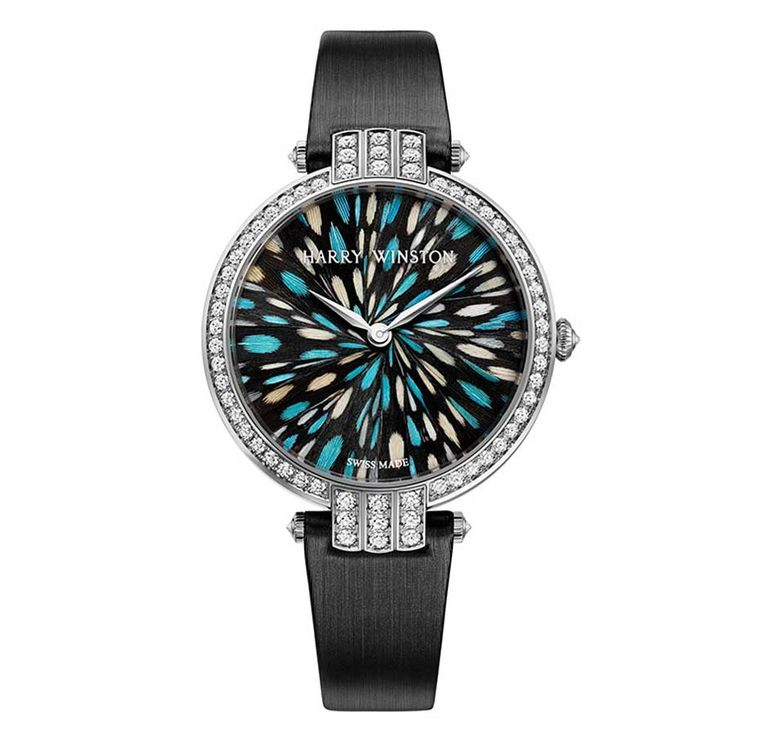 Harry Winston Premier Collection with marquetry of blue-tinted guinea fowl feathers and 96 brilliant-cut diamonds on the bezel, lugs, crown and buckle.