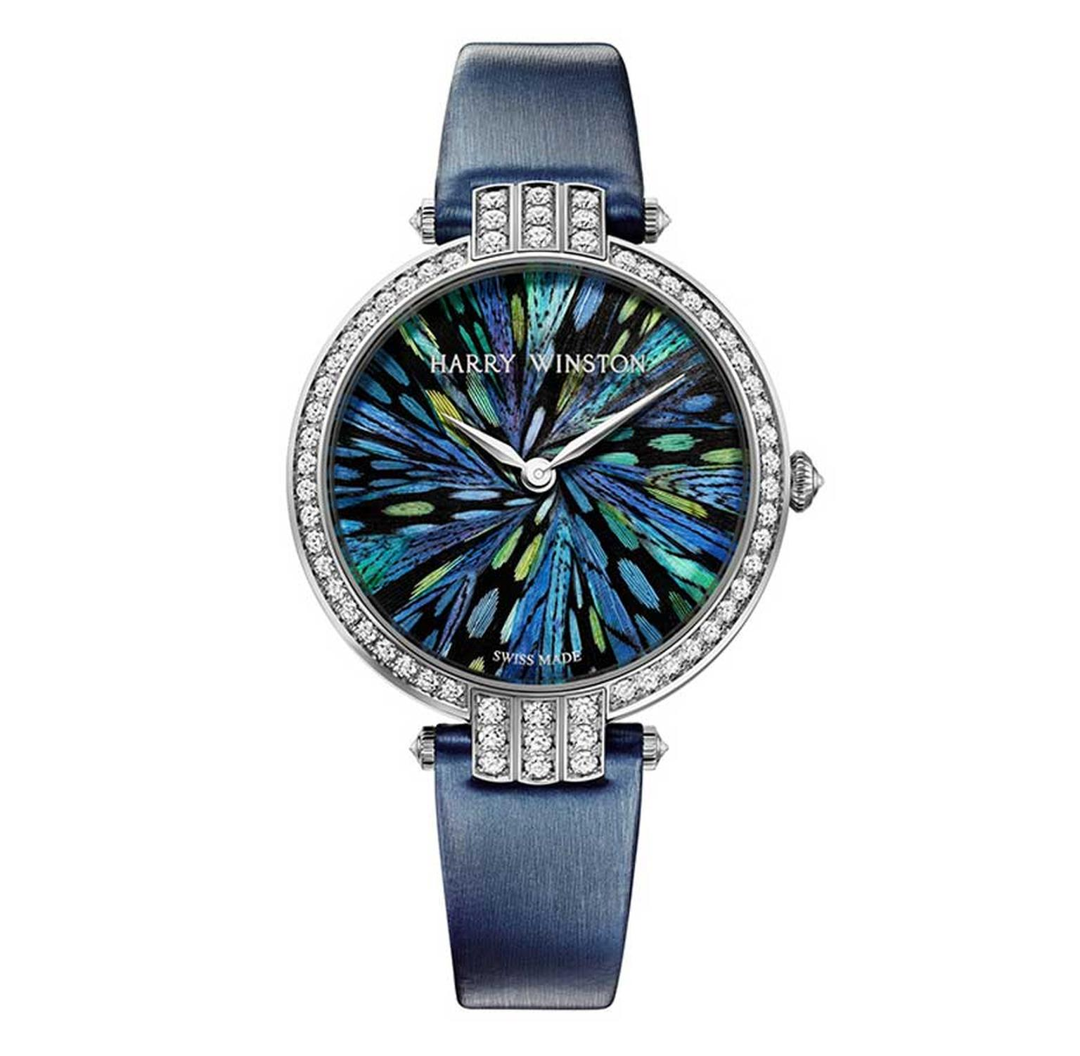 Harry Winston Premier Collection with a marquetry dial of silvered pheasant and guinea fowl feathers.
