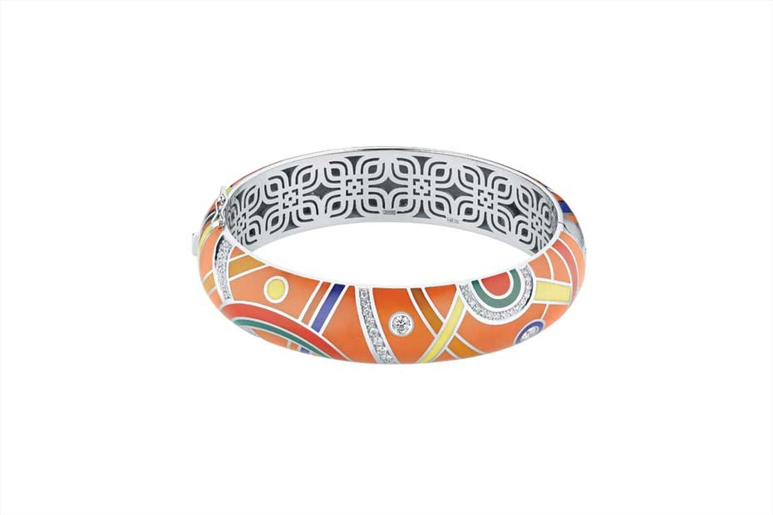 Alexander Arne bangle in white gold, with colourful enamel and diamonds.
