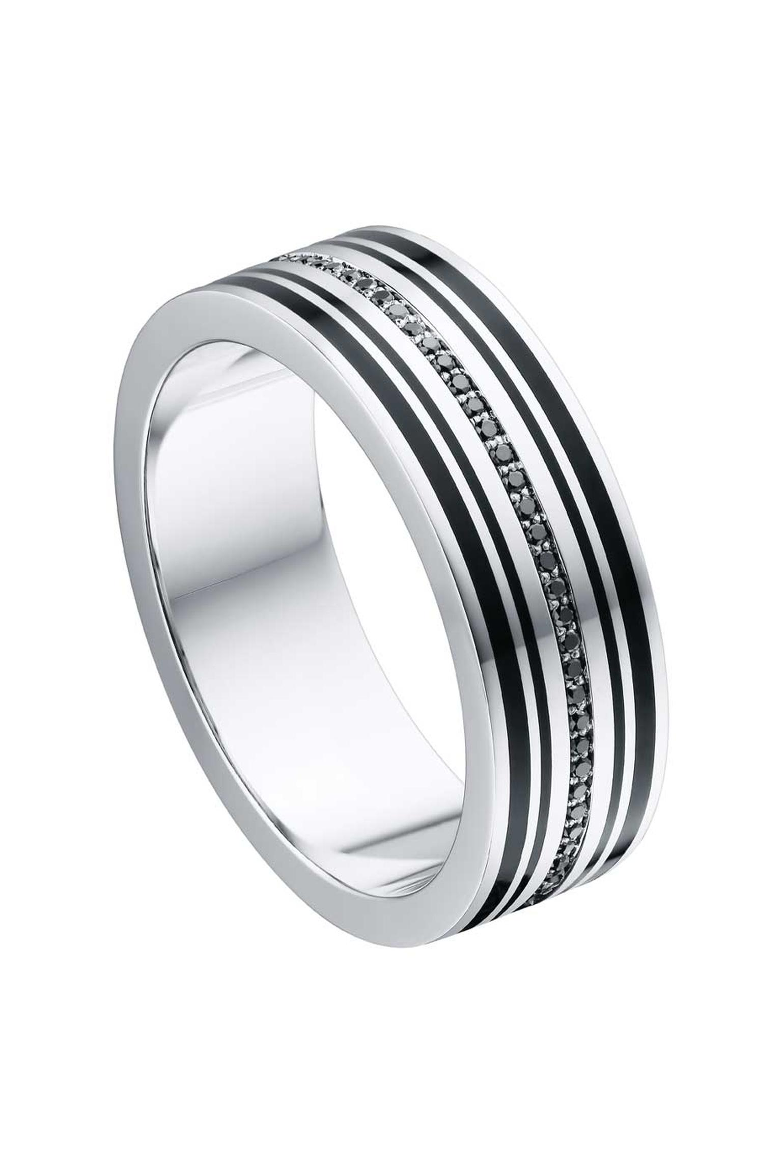Alexander Arne ring for men in white gold and enamel with black diamonds.