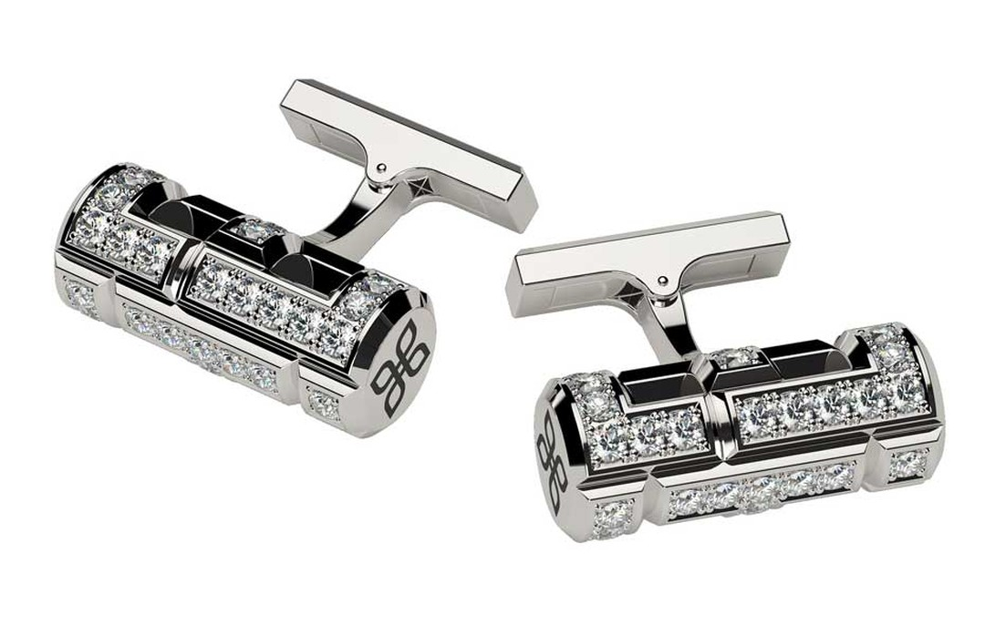 Alexander Arne cufflinks for men in white gold and diamonds.