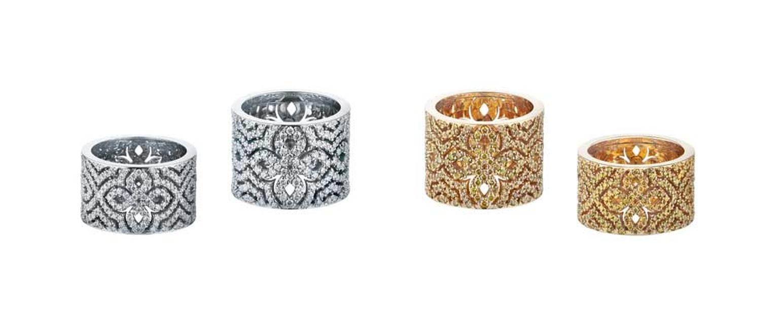 Alexander Arne Logomania rings in yellow and white gold with diamonds.