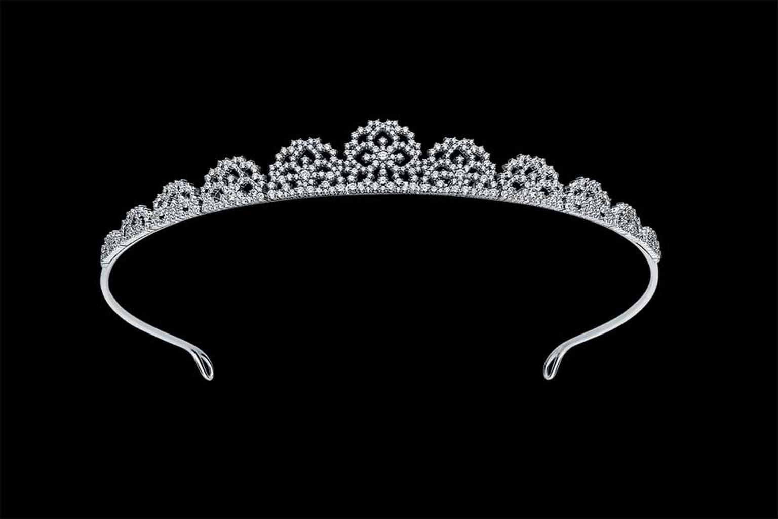 Alexander Arne diamond tiara in white gold, from the new SnowChic collection.
