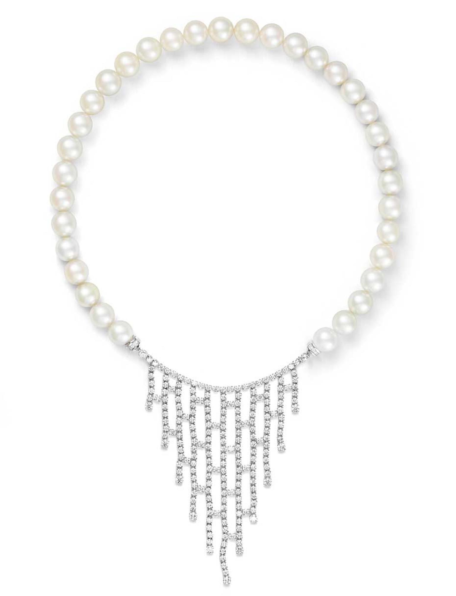 Alexander Arne pearl and diamond necklace, from the Transformer collection, which can be disassembled and worn as a pearl strand.