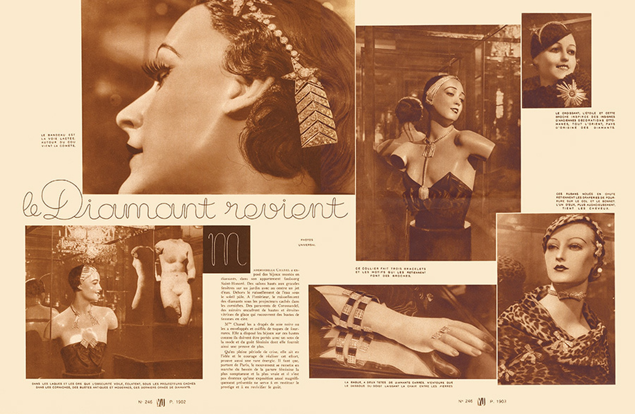 Spot the diamond stars in an article in 'VU' magazine from November 1932 covering Madame Chanel's Bijoux de Diamants exhibition in Paris.