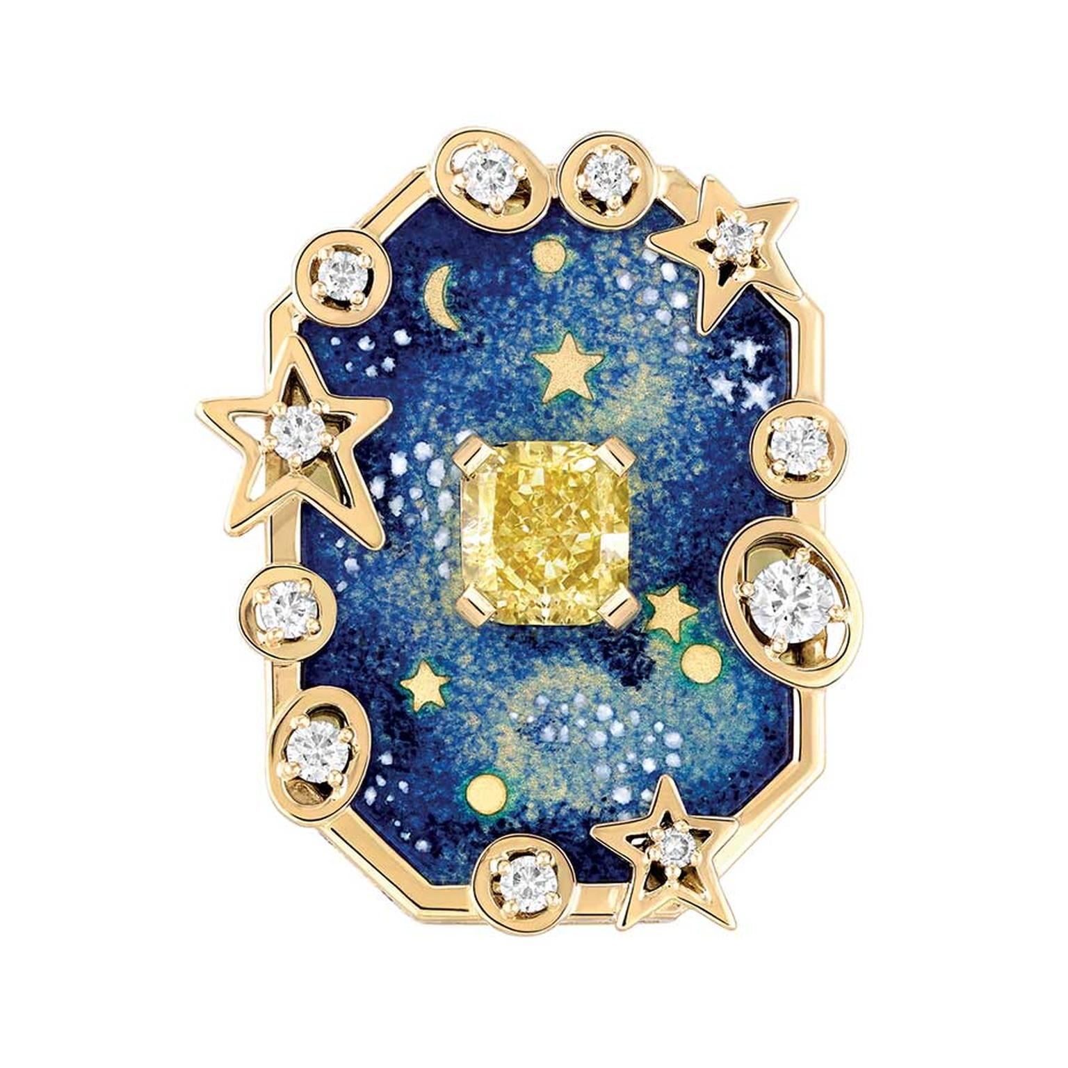 Chanel Vendome Comete high jewellery ring from the Café Society collection, launched at the Biennale in Paris in 2014, decorated with Grand Feu enamel and set with a 1.5ct cushion-cut yellow diamond and brilliant-cut diamonds.