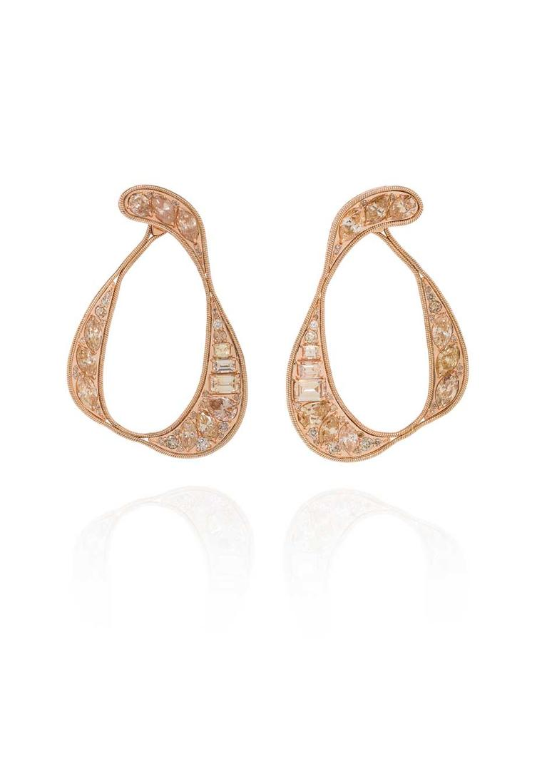 Fernando Jorge champagne diamond earrings in rose gold, from the new Stream collection launching next month.