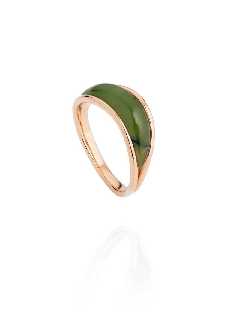 Fernando Jorge Stream jade ring in rose gold.
