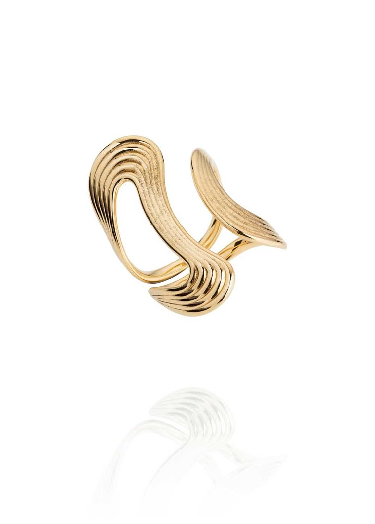 Stream Lines Open Ring in yellow gold from Fernando Jorge's new Stream Collection.