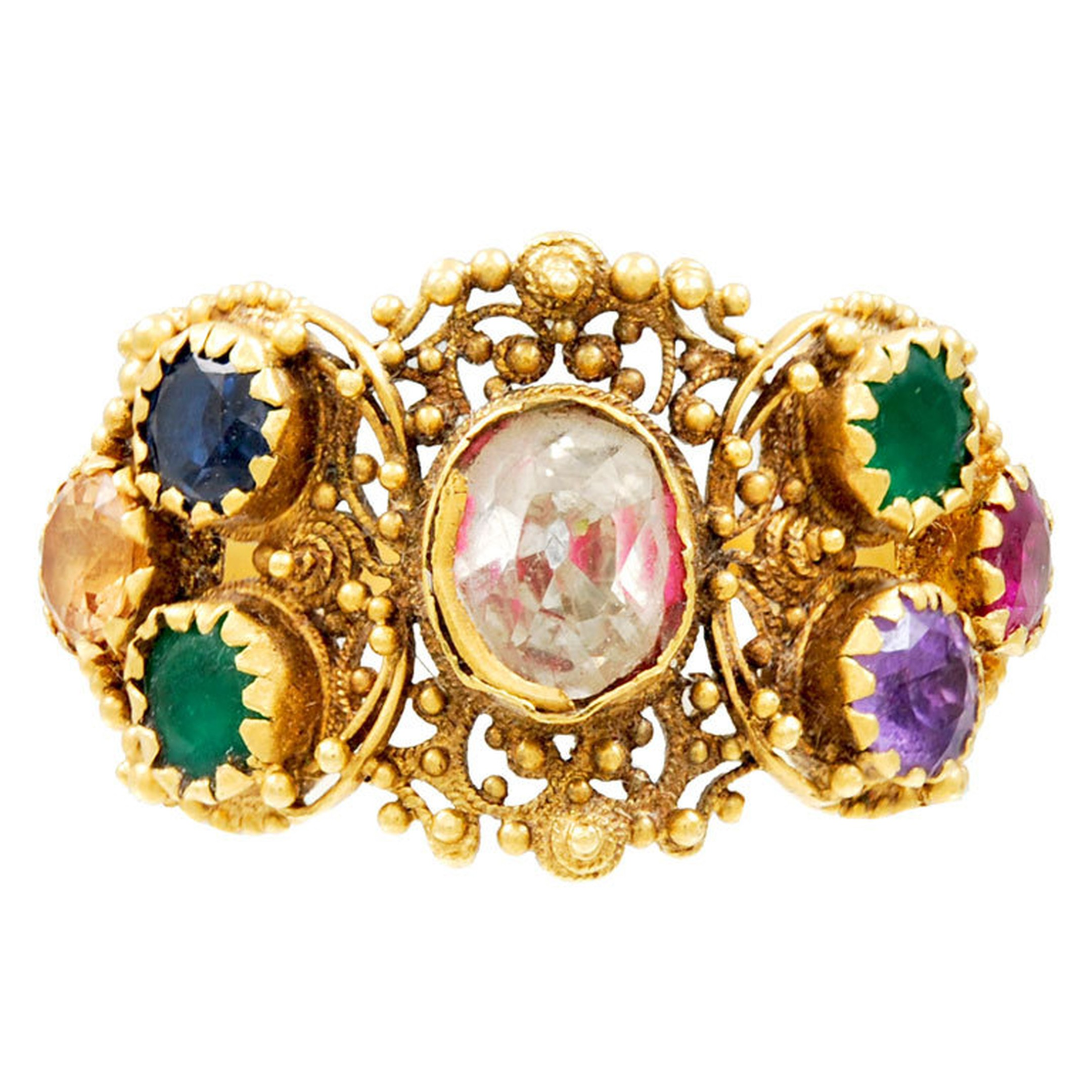 This antique Georgian ring spells out the word Dearest in diamond, emerald, amethyst, ruby, emerald, sapphire and topaz stones. Available from 1stdibs.com.