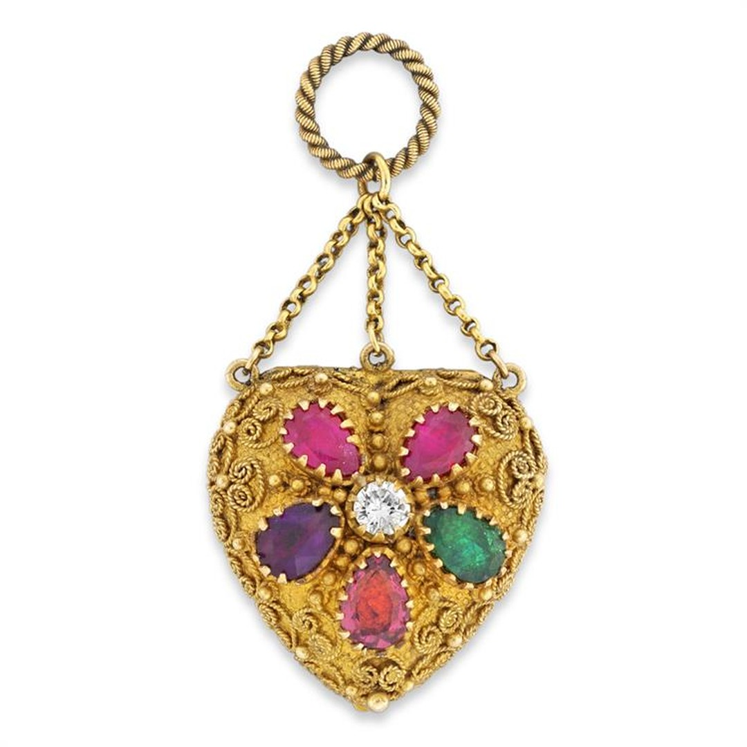 This gorgeous yellow gold Georgian heart locket spells out the word Regard in rubies, emerald, garnet, amethyst and a round brilliant-cut diamond. Available from Bentley & Skinner.