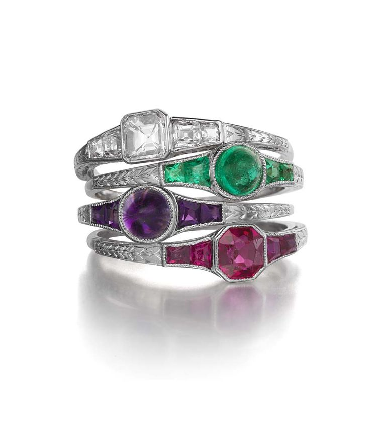 Theodore B Starr's 1920s acrostic stacking rings feature either a square-cut diamond, a cabochon emerald, a cabochon amethyst or a cushion-cut ruby. Available from Siegelson.