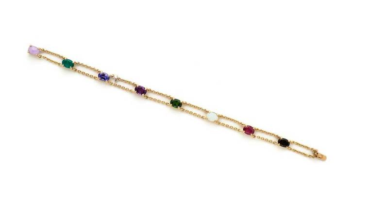 The first letter of each stone in this gold and coloured gemstone acrostic bracelet  spells out the words Je t'adore in jade, emerald, tanzanite, amethyst, diopside, opal, ruby, epidote. Available from Wartski.