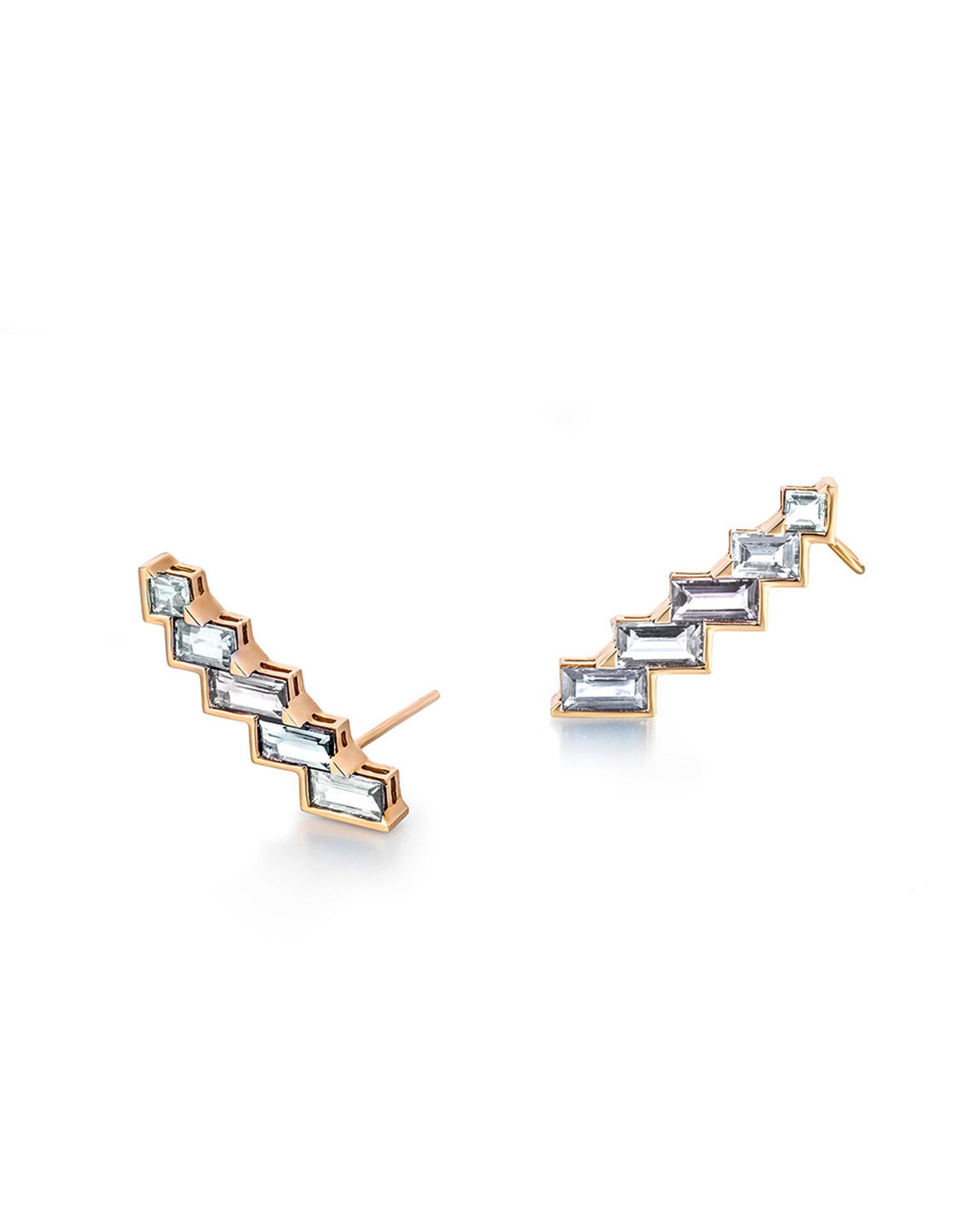 Tomasz Donocik has designed a selection of cuff earrings for the Electric Night collection that can be mixed and matched with the drop earrings.
