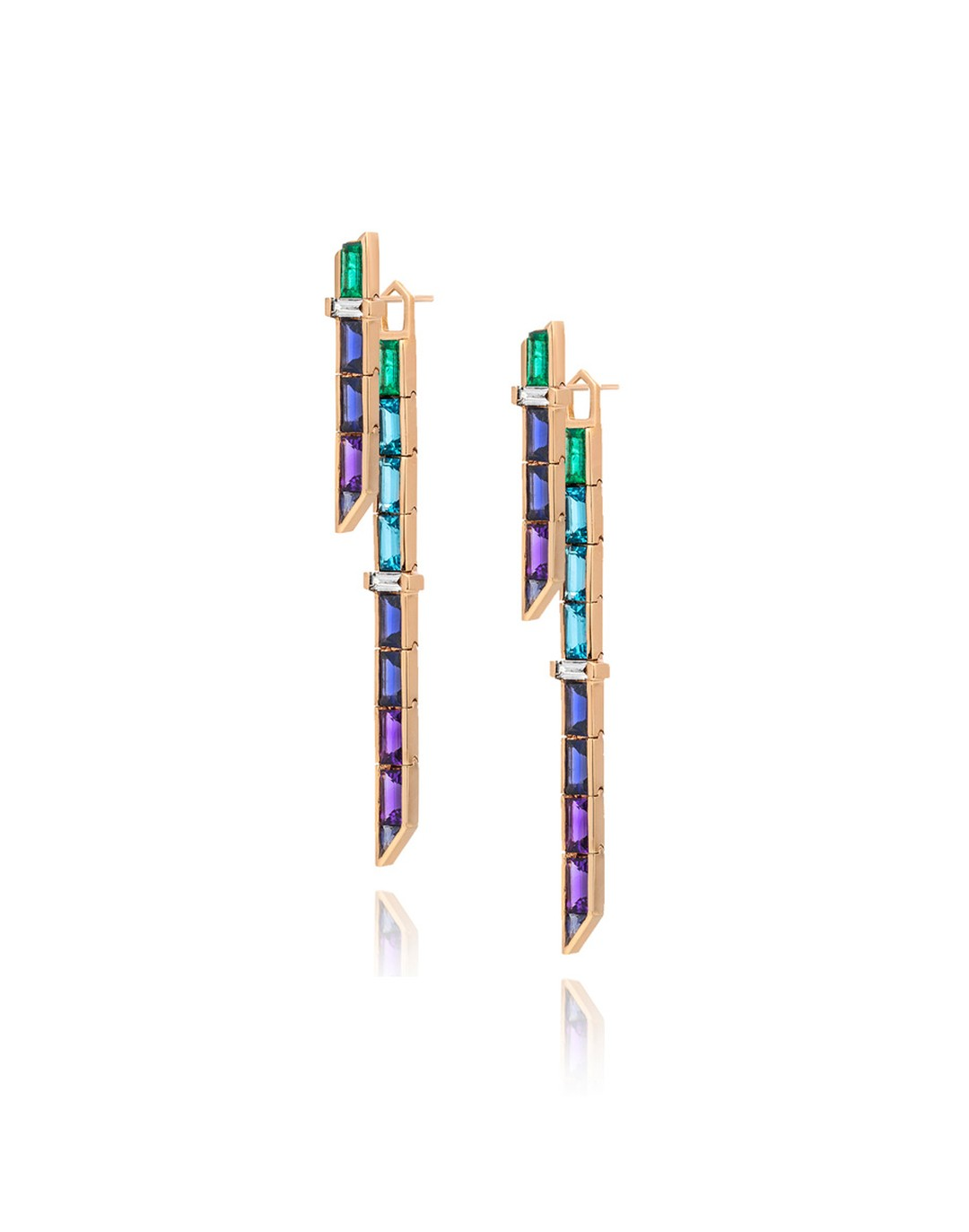 Tomasz Donocik combo drop Electric Night earrings in rose gold with amethyst, tanzanite, iolite and blue topaz.