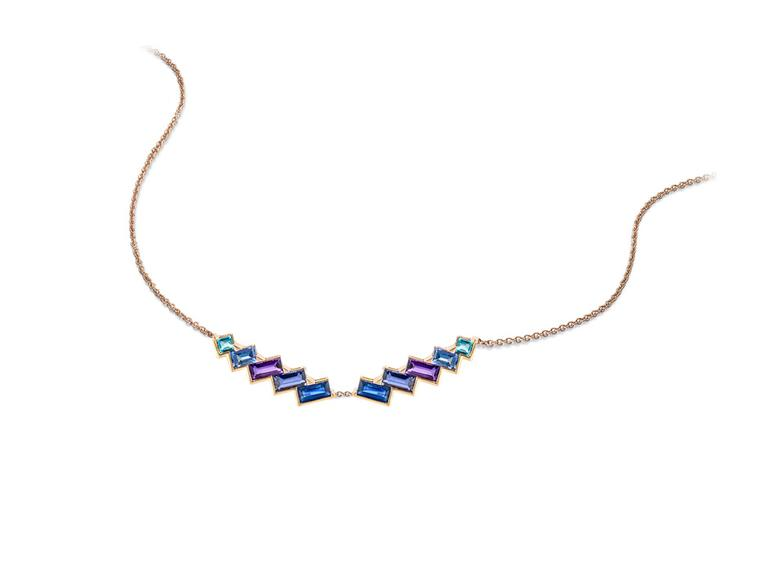 Coloured gemstone necklace from Tomasz Donocik's new Electric Night collection.