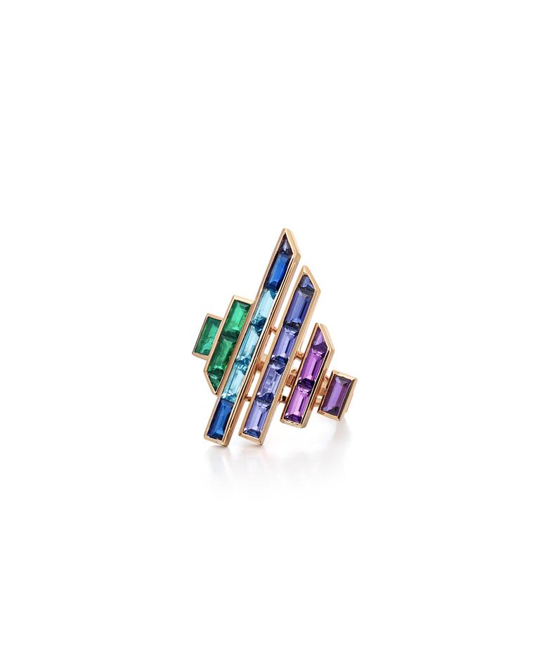 The Disc ring from Tomasz Donocik's new Electric Night collection is available in several combinations of coloured gemstones.