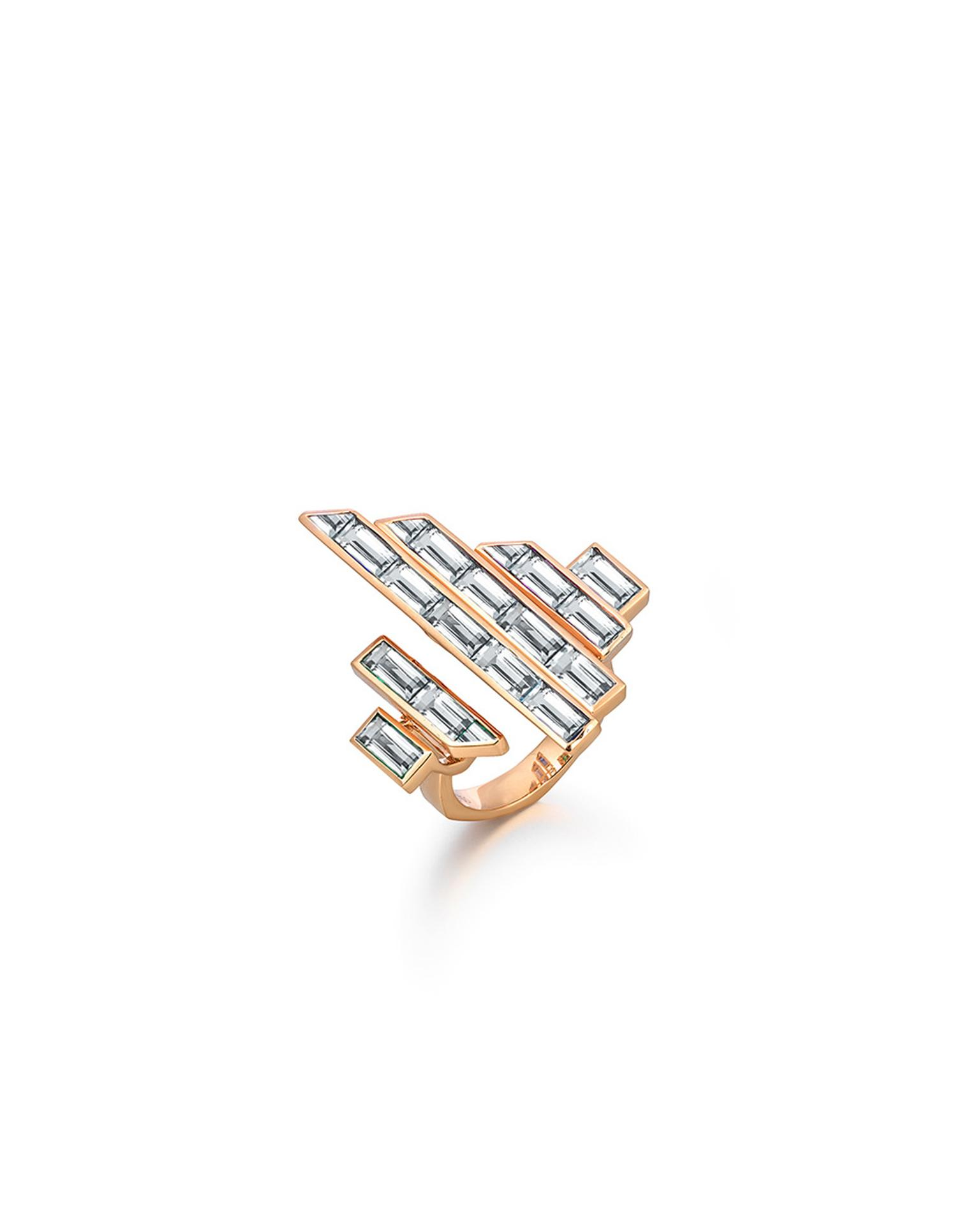 Tomasz Donocik diamond cocktail ring in rose gold from the Electric Night collection.