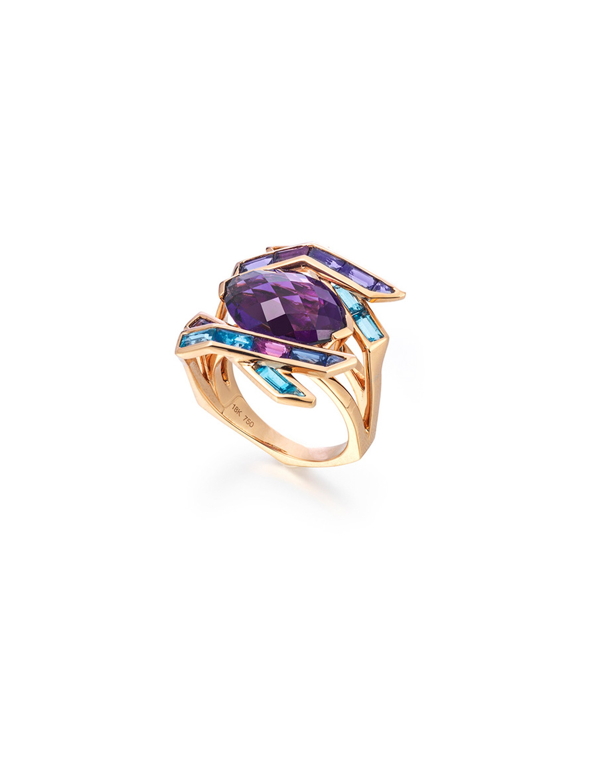 Tomasz Donocik cocktail ring in rose gold with coloured gemstones from the new Electric Night collection.