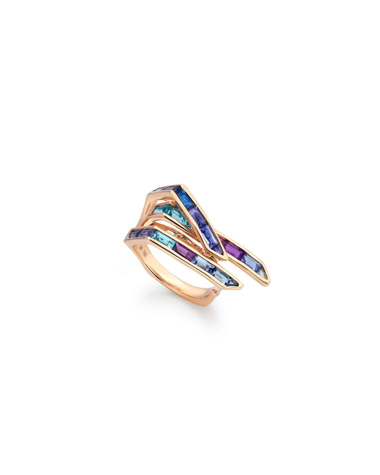 Tomasz Donocik Electric Wing ring in rose gold and coloured gemstones, from the new Electric Night collection.