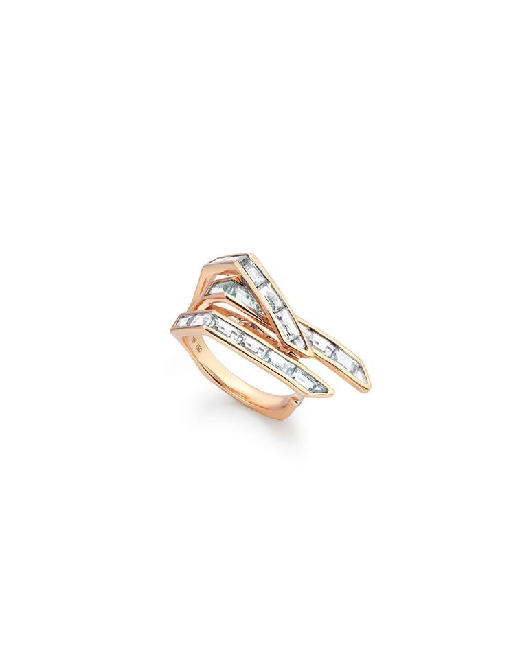 Tomasz Donocik's Electric Wing diamond ring in rose gold.