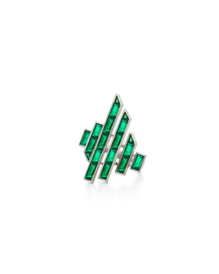 Tomasz Donocik Disc ring in white gold and emeralds from the new Electric Night collection.