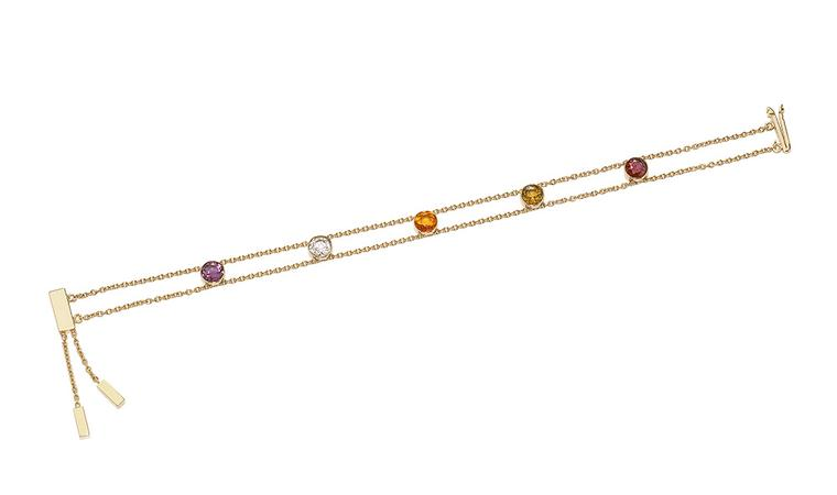 This Chaumet ABC bracelet spells out 'amour' in coloured gemstones: amethyst, morganite, opal, uvite and rhodolite gemstones.