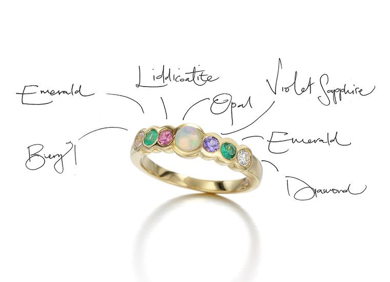 Jessica McCormack's Love Letters collection derives from Victorian-era acrostic rings - engagement rings that spelled out hidden messages in coloured gemstones, each of which represented a letter of the alphabet.