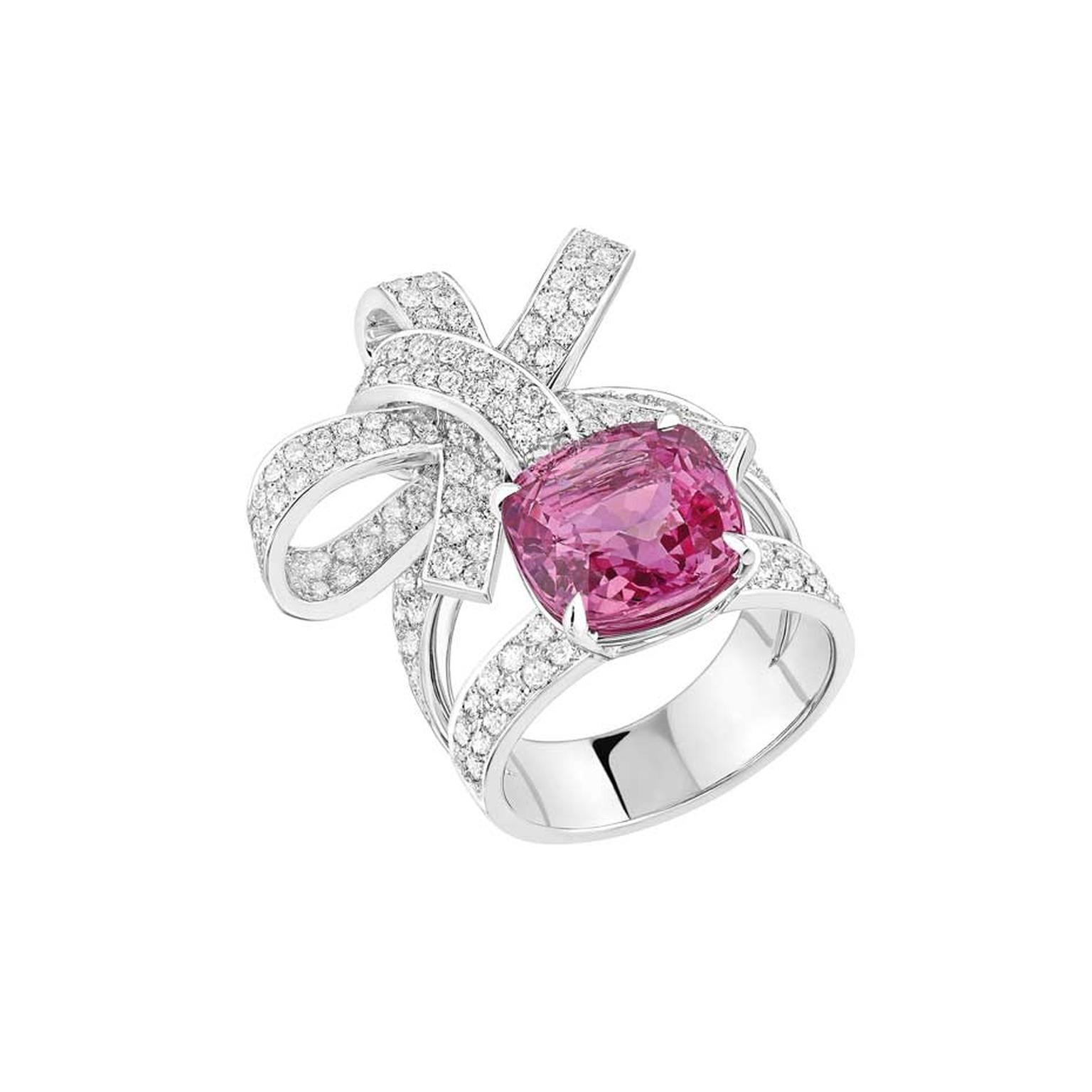 The Chanel Ruban ring is also available with an 8.00ct cushion-cut pink sapphire and 174 brilliant-cut diamonds.