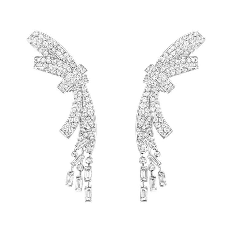 White gold Chanel Ruban earrings set with 18 baguette-cut diamonds and 320 brilliant-cut diamonds, from the new new Les Intemporels de Chanel high jewellery collection.