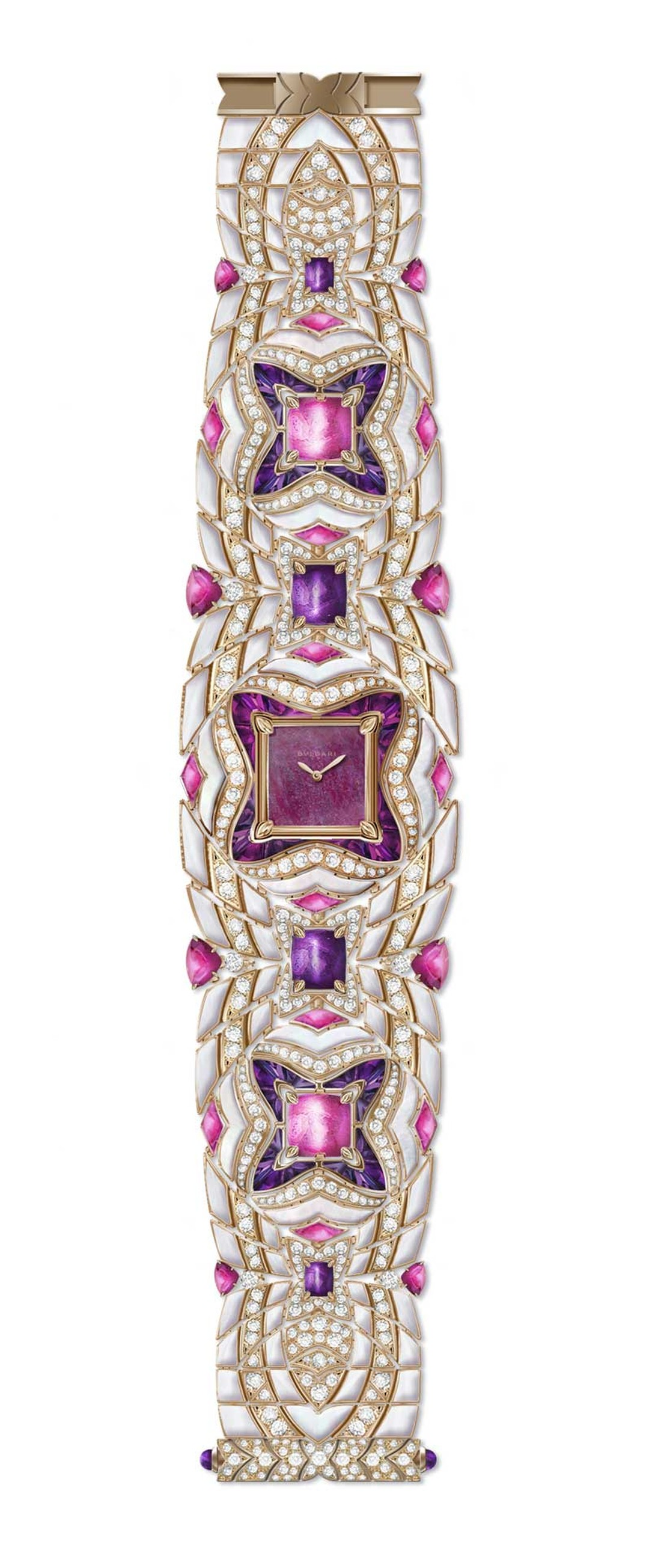 Bulgari's Mvsa high jewellery watch in rose gold features a ruby heart dial and a fabulous bracelet set with mother-of-pearl, 350 brilliant-cut diamonds, 56 buff-top amethysts, 4 Takhti-cut amethysts, 20 triangle-cut rubellites and 2 Takhti rubellites.