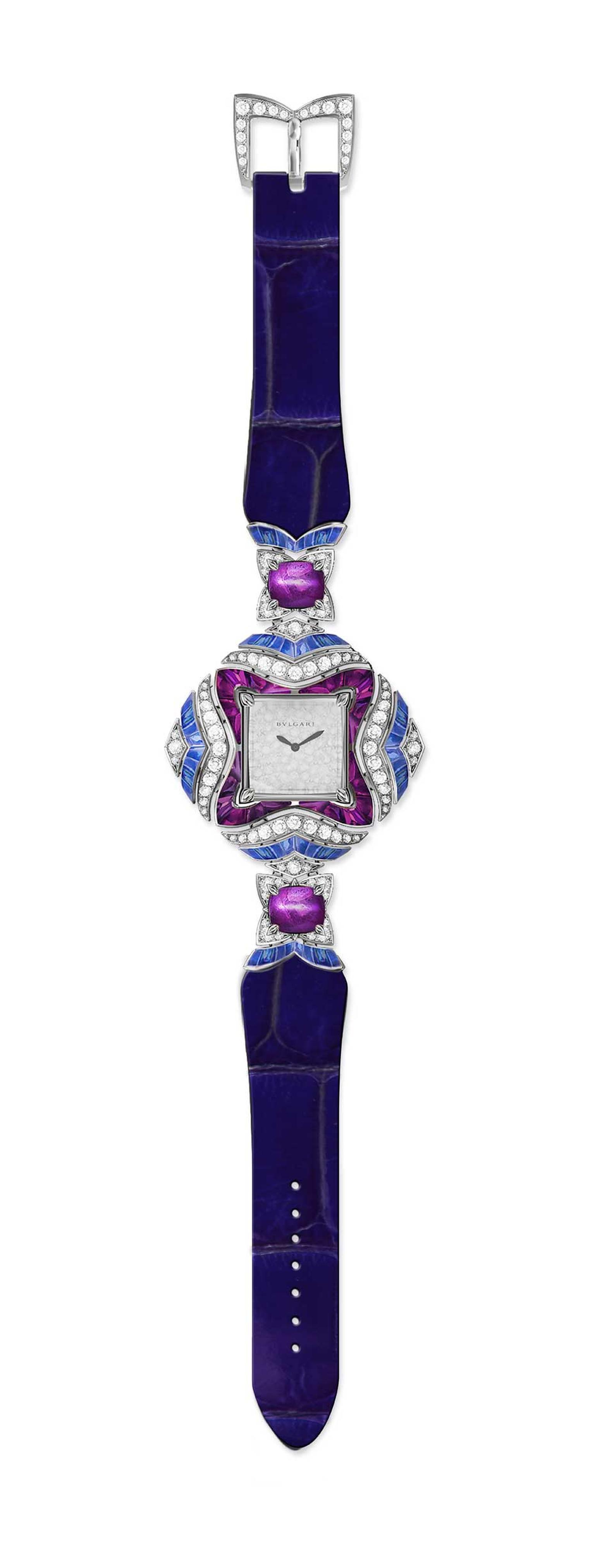 Bulgari Mvsa high jewellery watch with blue and pink sapphires and diamonds.
