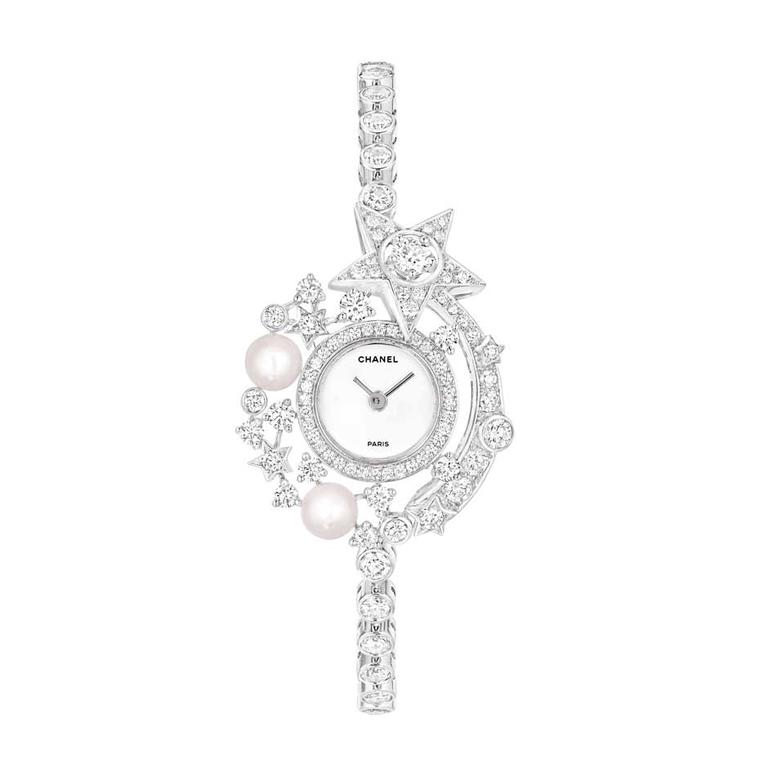 Chanel's Voie Lactée (Milky Way) watch from the Comète collection features a miniature galaxy made up of 109 brilliant-cut diamonds, a shooting star, and two Japanese cultured pearls orbiting a carved mother-of-pearl dial.