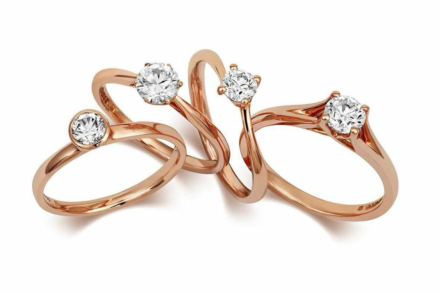 CRED ethical engagement rings in Fairtrade rose gold.