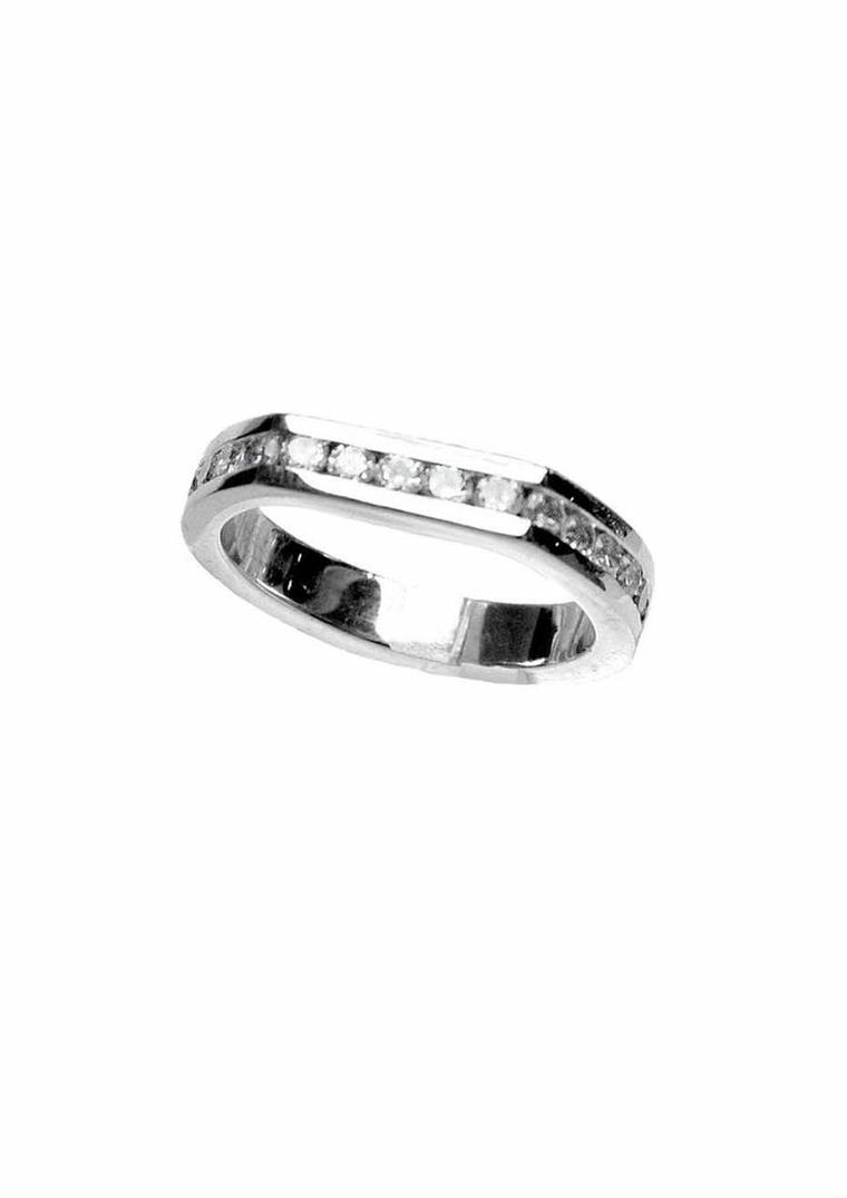 Anna Loucah ethical wedding band in Fairtrade white gold and diamonds, from the new Stellar collection.