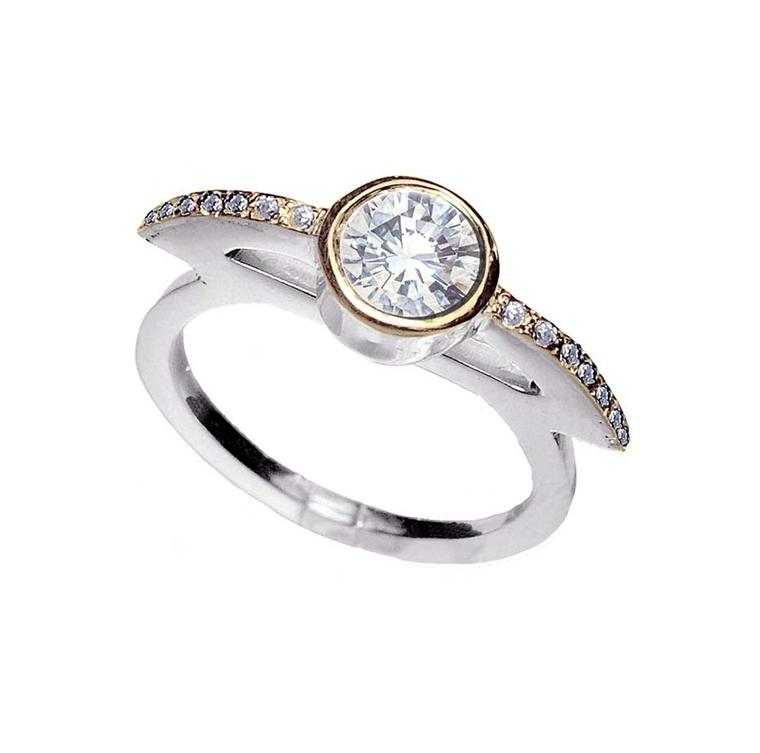 Anna Loucah ethical diamond engagement ring in Fairtrade white and yellow gold, from the new Stellar collection.