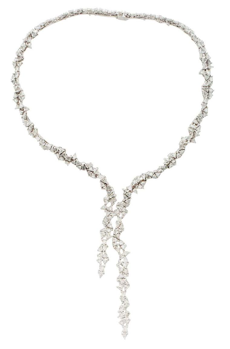 This show-stopping diamond necklace from Monique Péan features an icy cascade of pear-shaped, rose-cut diamonds.